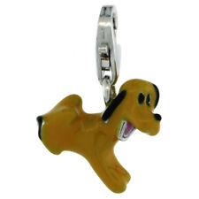 Sterling Silver Enameled PUPPY DOG Charm w/ Lobster Clasp for Bracelet