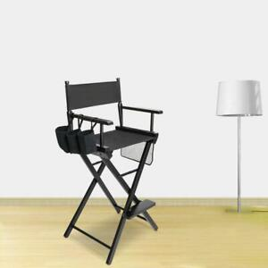 Directors Chair Canvas Tall Seat Black Wood Fold Hair Stylist with Storage Bag