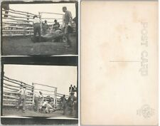 COWBOYS - HORSE TIE UP RPPC REAL PHOTO ANTIQUE POSTCARD