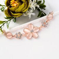 Fashion Women Flower Charm Rhinestone Crystal Bracelet Chain Gold Bangle Jewelry