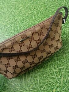 Gucci GG monogram small pochette baguette boat shoulder bag handbag purse