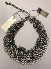 NWT CHICOS Buchanon Choke Necklace Hematite Strand and Sparkles #90480