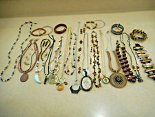 Huge 32 Pc Lot Vintage/Estate/Now Brown Color Costume Jewelry ALL WEARABLE 1+Lbs