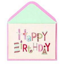 Papyrus Happy Birthday Card  Embroidery on Fabric Card