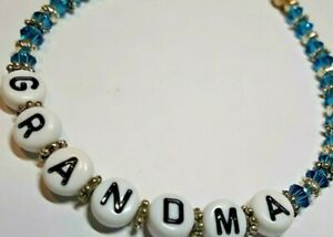 """""""GRANDMA"""" 8  INCH BABY ANNOUNCEMENT  BEADED BRACELET IN BLUE CRYSTALS"""