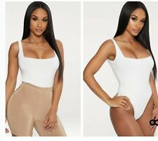White Square Neck Sleeveless Thong Bodysuit - Size 10
