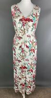 M&S Size 16 Maxi Jersey Dress Tie Waist Floral Stretchy Holiday Summer Cruise