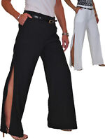 New Womens High Side Split Wide Leg Trousers Evening City Party Event