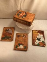 Vtg Ceramic Art Trinket Box Interchange Lid Christmas Halloween Patriot Eagle