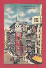 Boston Massachusetts Old South Meeting House Vintage Old Linen Postcard 1955