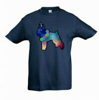 Schnauzer Dog - Unicorn Dog Tee Shirt, Childrens Kids Tee, Check Measurements