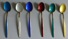 DAVID ANDERSON Set of Six STERLING SILVER Gilt COFFEE SPOONS 1960's