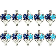 Bulk 10pcs! Enamel Flower Heart Blue Pearl Beads Cage Locket Pendant K1005