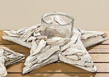 Windlicht Teelichthalter Glaseinsatz maritim Stern Seestern Treibholz L:35 #784