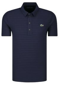 Lacoste Men's SPORT Textured Breathable Golf Polo Shirt Navy Blue DH6844 Size 9