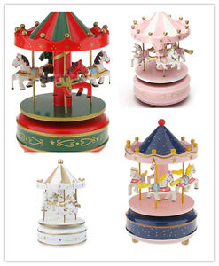 Horse Carousel Classic Music Box Merry Go Round Wooden Base Kids Christmas Gift
