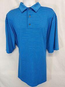 FOOTJOY Men's XL Blue White Stripe Poly Blend Golf Polo Shirt  FJ