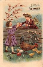 Metallic Pink Dress on Girl by Colored Eggs, Boy, Chicken, Chicks-1907 Easter PC