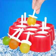 9Pcs Silicone Push Up Ice Cream Jelly Lolly Mini Pops Popsicle Maker Yogurt Mold