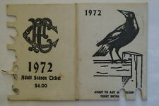 Collingwood Magpies Vintage 1972 AFL-VFL Football Members Season Ticket Card