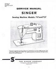 Singer Sewing Machine Classes 717 737 Adjusters Service Repair Manual Book