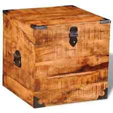 vidaXL 241636 Rough Mango Timber Wooden Square Storage Chest Trunk