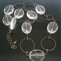 """Heavy Faceted Glass & Sterling Silver Ring Necklace 35"""""""