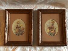 Vintage Home Interiors Pair of Florals w/ Butterflies 6.5� x 8.5� Euc