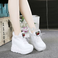 Winter Womens Platform Wedge High Heel Sneakers Sport Ankle Boots Shoes Creepers