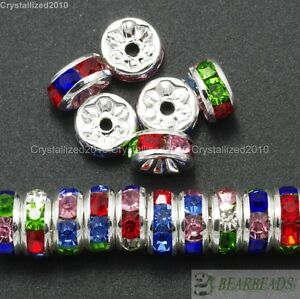 100 Czech Crystal Rhinestone Silver Rondelle Spacer Beads 4mm 5mm 6mm 8mm 10mm