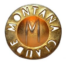 VINTAGE FRENCH SIGNED MONTANA GOLD LOGO PIN ROUND BROOCH