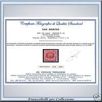 1892 San Marino Lira Rossa n. 20 Usato Certif. PROPOSTA