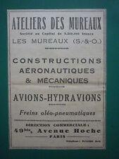 4/31 PUB ANF LES MUREAUX NORD AVION HYDRAVION AIRCRAFT AERONAUTIQUE MILITAIRE AD