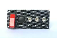 Motorsport Starter Panel + Push Button & 3 Accessory Switches 30 Amp Carbon Look