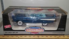 1/18 ERTL AMERICAN MUSCLE 1957 CHEVROLET BEL AIR CONVERTIBLE HARBOUR BLUE yd