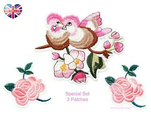 🌸SPECIAL SET OF 3 PINK BIRD FLOWERS Embroidered Applique Iron Sew On Patch UK🌸