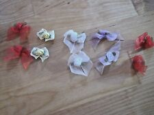 10 ORGANZA ROSE BOW TRIMS. TOPPERS? TRIMS? CARDS? MULTI COLOURS.
