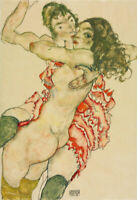"Egon Schiele 24""x16"" Art Print Poster Two Women Embracing 1910"