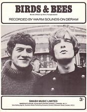 Warm Sounds-Birds & Bees-1967 Sheet Music-Original UK issue-Immediate Music-Rare