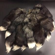 Black /White -- Real Silver Fox Tail Key Chain Fur Tassel Tag Bag Charm Pendant