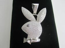 "5.00ct Hip Hop Playboy Bunny Pendent in Sterling Silver S925 2"" Inch"