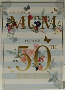 50TH MUM Birthday Card - Age 50 - Verse - 9 x 6.25 Inches - Words and Wishes