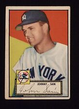 1952 Topps #49 (49B) John Johnny Sain COR with Black Back - New York Yankees