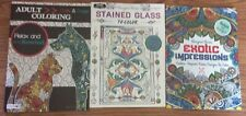 Adult Coloring Drawing Books 3 Set Lot Pb Cats Dogs Exotic Stained Kappa Bendon
