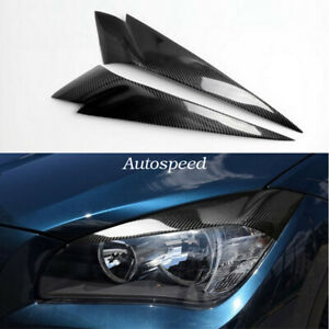 Carbon Fiber Head Light Lamp Eyebrow Eyelid Trim 2pcs For BMW X1 E84 2010-2015
