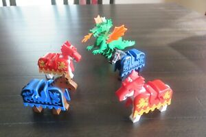 Vintage Lego Horses with Barding - Lot of 4 + Green Dragon Castle Knights Era