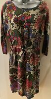 East Floral Viscose Shift Dress With Tie Waist, 3/4 Sleeves & Pockets Size 8