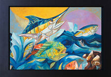 Fishing Art Marlin Ocean Fish Modern Canvas Print Signed Vivid Colors SFASTUDIO