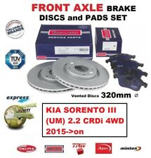 FOR KIA SORENTO III (UM) 2.2 CRDi 4WD 2015->on FRONT AXLE BRAKE PADS + DISCS SET
