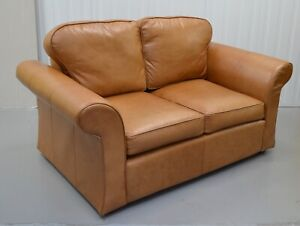 LAURA ASHLEY TAN LEATHER TWO SEATER SOFA / ARMCHAIR AVAILABLE